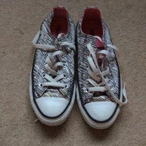 Silver glitter zebra print converse sneakers